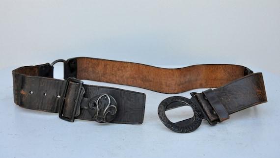 Vintage 30s 40s Boy Scouts Leather Belt - BSA Lea… - image 9