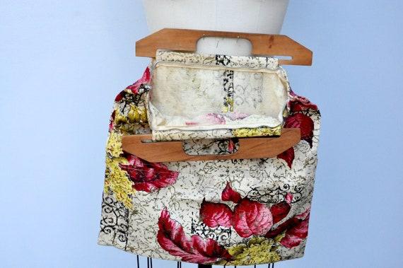 Vintage 40s Bag - Wood Handle Bag Purse - 40s Fab… - image 4