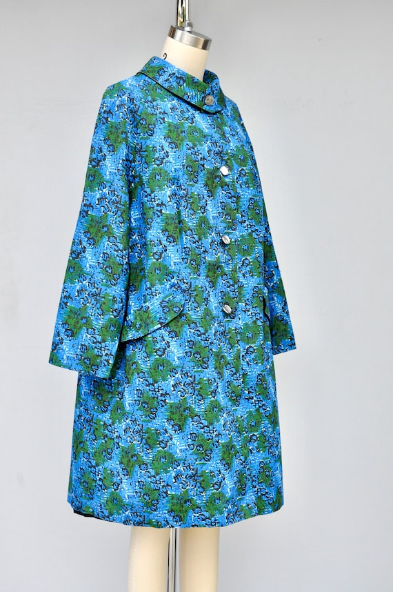 50s 60s Mod Duster Coat - Floral Duster Coat with… - image 6