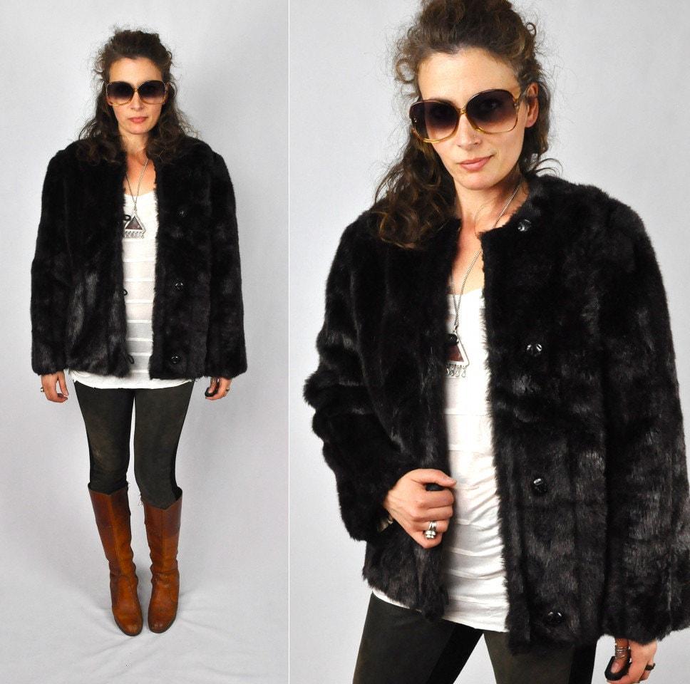 SALE Vintage Faux Fur Jacket Coat Streaked Vegan Brown Fur ...