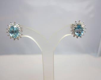 Cambodian Blue Zircon and White Zircon Earrings