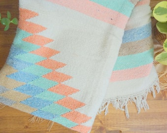 Mexican Saltillo Pastel Throw/Southwest Festival Blanket/Rug/Wall Hanging