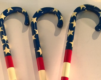 Patriotic Painted Wood Walking Cane, Flag Style with Stars and Stripes