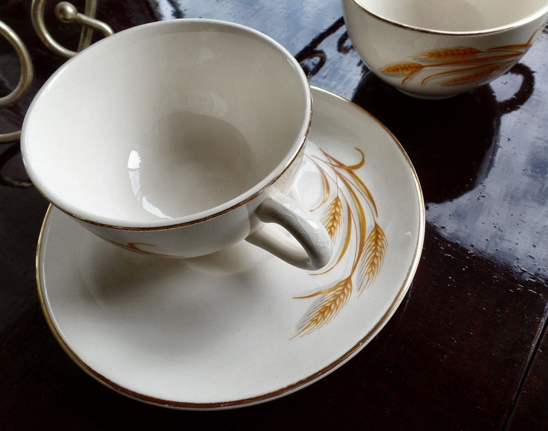 Vintage Cup and Saucer Set by Homer Laughlin with Gold Trim and Wheat Design