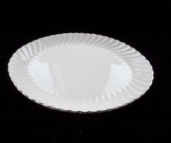 Silver Trimmed White Scalloped Edge Serving Platter Usa Etsy