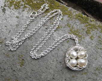 Four Egg Nest Necklace with .925 Sterling Silver: Four Bird Nest Necklace, Fresh Water Pearls Handwrapped, Mother's Day Jewelry