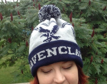Wizard Cuff Pom Beanie Hat: Gray and Navy, Eagle, Medium