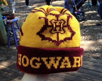 Wizard Cuff Pom Beanie Hat: Yellow and Burgundy, School Crest, Medium