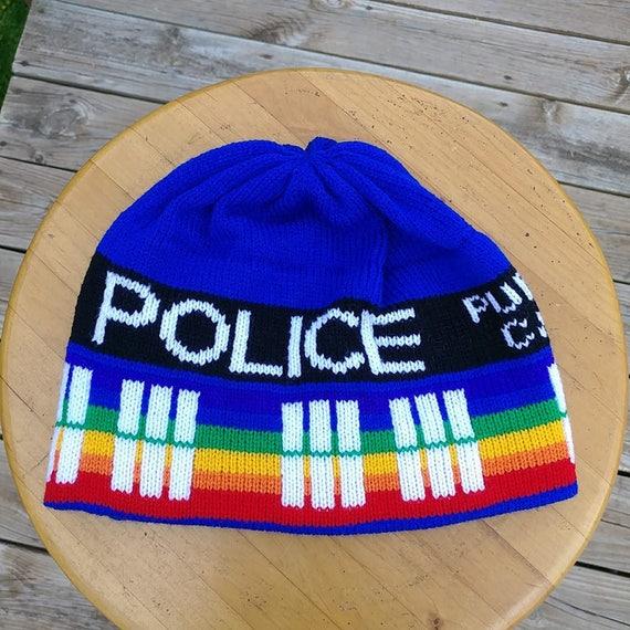 2ca85cee823 Pride Rainbow Police Box Beanie Hat Large Blue and Rainbow