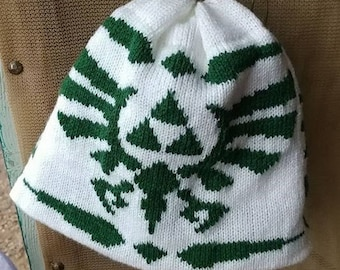 Triforce Beanie Hat: Medium, White with Hunter Green