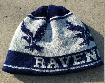 Wizard Beanie Hat: Navy Blue and Grey, Eagle, Medium