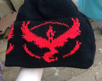 Team Valor Black with Red Beanie Hat - Large