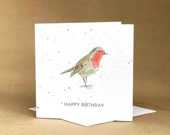 Eco-Friendly Plantable Seeded Card / Happy Birthday Bird