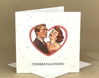 Plantable Eco-Friendly Seeded Card / Congrats .... Retro Couple Dancing