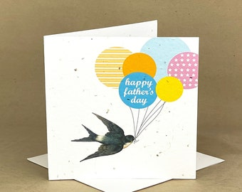 Swallow with Father's Day Balloons  / Eco-Friendly Plantable Seeded Card