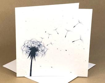 Plantable Eco-Friendly Seeded Card / Bluish-Black Dandelion