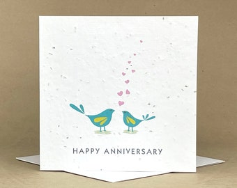 Plantable Eco-Friendly Seeded Card / Happy Anniversary! Two birds Speaking in Hearts