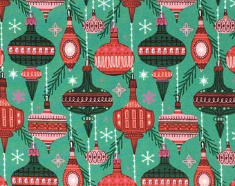 Organic Cotton Quilting Fabric - Cloud 9 Fabrics, Christmas Past - Baubles and Branches