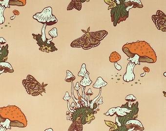 Organic Cotton Quilting Fabric - Birch Fabrics, Wild Coast, Mushrooms Peachy