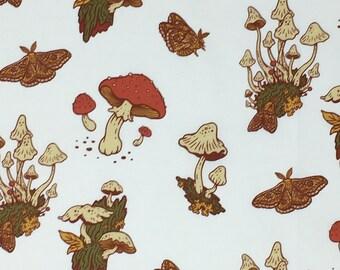 Organic Cotton Quilting Fabric - Birch Fabrics, Wild Coast, Mushrooms Cream