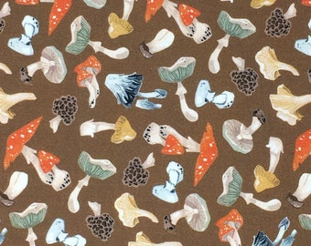 Poplin Quilting Woodland Cotton Fabric - Dear Stella, Mushroom City, Tossed Mushrooms Cashew