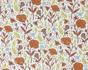 Organic Cotton Quilting Fabric - Birch Fabrics, Wild Coast, Poppies Cream