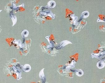 Poplin Quilting Woodland Cotton Fabric - Dear Stella, Mushroom City, Squirrels