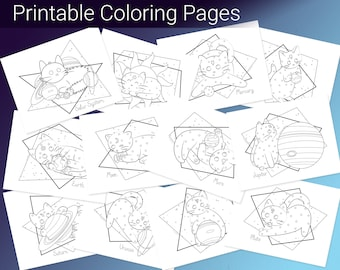 Solar System Cats Coloring Pages