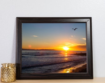 Sunset on a Rock Covered Beach Photography Print