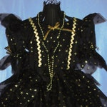 Girl's Witch Halloween Costume, black & gold dress with beads and hat, size 4-5