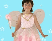 Pink Fairy Costume,Wings, head band, Girls Size 4-5