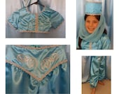 Jasmine Costume Girls, 3-Piece Blue and Silver Aladdin-Inspired Princess Costume, Size 6-7