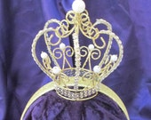 Girl's gold crown on a head band, plain or lined in a fabric to match our princess's costumes.