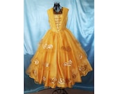 Girl's Belle Costume, Dress for Birthday Party or Photo Shoot, Beautiful Beauty and the Beast Inspired Dress, Kids Princess Gown, Size 6-7