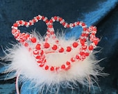 Girl's Queen of Hearts  red crystal crown with boa trim