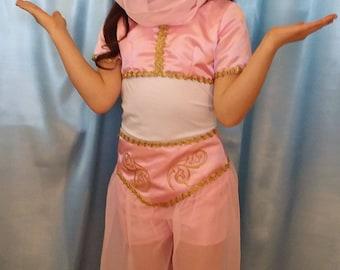 Girl's pink satin and sheer Jasmine three piece costume size 6-7