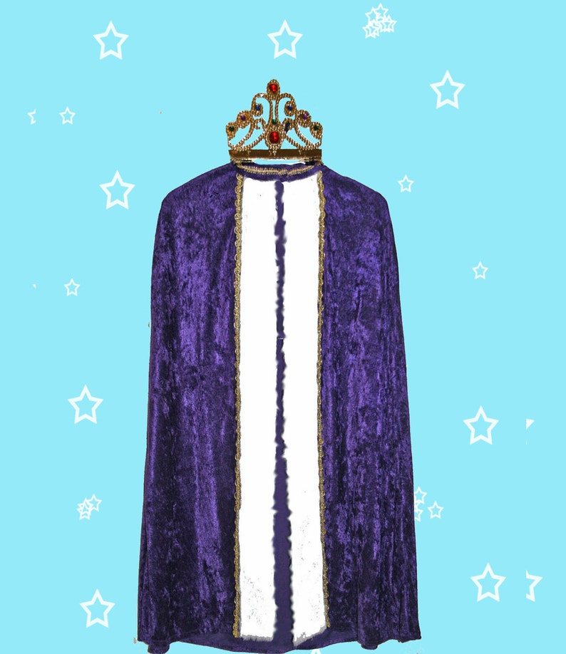 King or Queen Velour Robe includes either a tiara or crown or Halloween fun. suitable for Christmas pageants