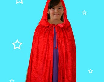 Girl's Red Velour hooded Cape with bag and string of beads