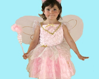 Girl's pink fairy costume trimmed in gold braid, includes pink boa beaded tiara and pink wings