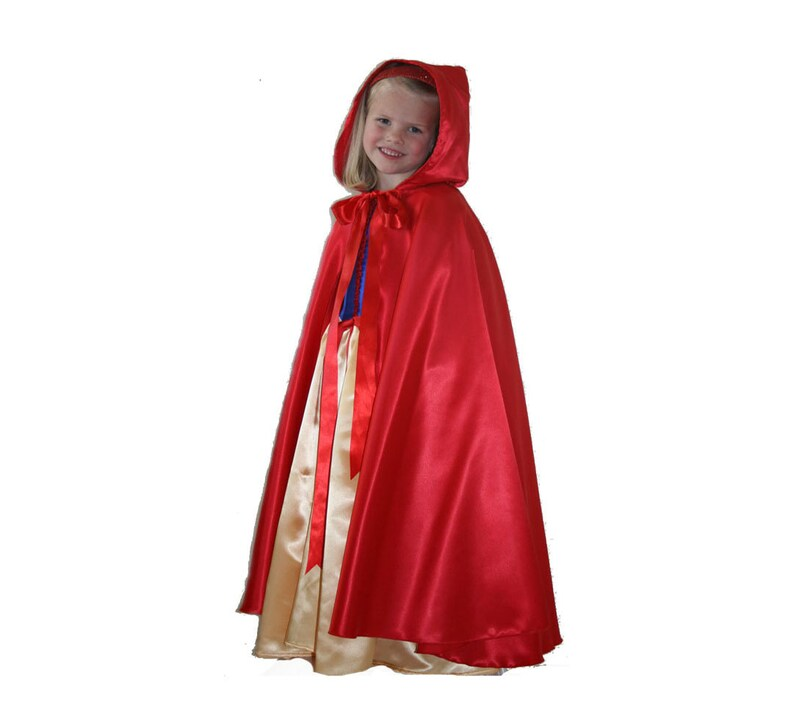 Girl's long red satin hooded cape image 0