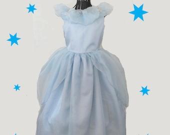 Cinderella  blue traditional costume dress, sz. 3-4, gloves, plastic rhinestone tiara.