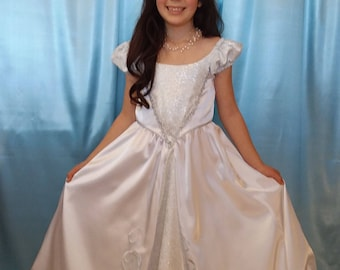 Girl's Satin White Cinderella, Princess Bride or Christmas Angel costume, 3 styles for one dress size 5-6