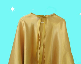 Girl's Gold Satin hooded Cape, satin bag and string of beads