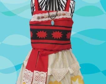 girl's Moana costumes size 7, raffia trimmed skirt, bead trim across the collar