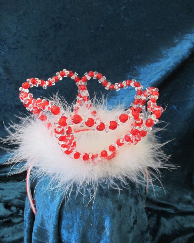 Girl's Queen of Hearts  red crystal crown with boa trim image 0