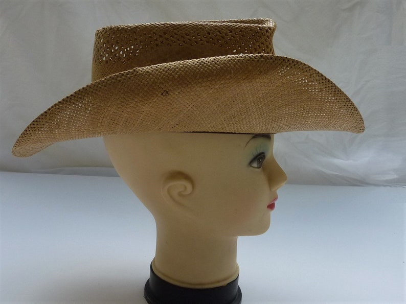 West Wind Vintage 1950s Straw Cowboy Hat Size 7 3 8 Well ventilated ... c4cc6b6950cf