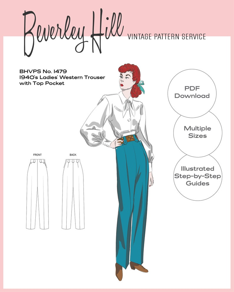 Vintage Western Wear Clothing, Outfit Ideas     Vintage Sewing Pattern Reproduction - Multiple Sizes - 1940s Ladies Western Trousers Pants with Top Pockets No.1479 - INSTANT DOWNLOAD PDF $13.72 AT vintagedancer.com