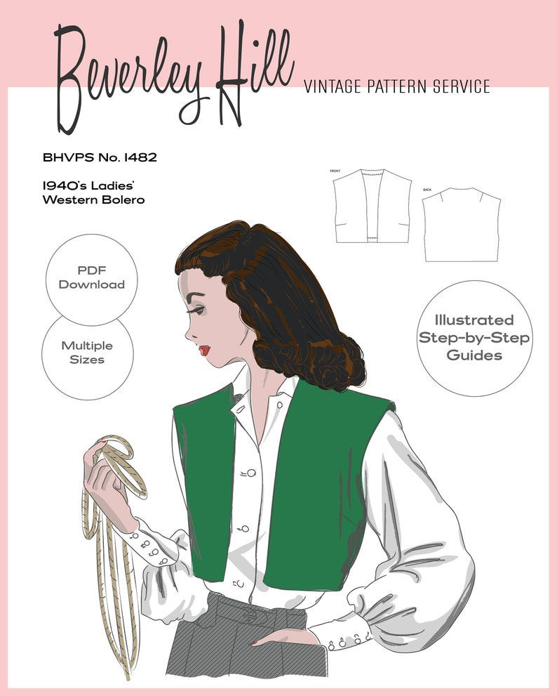 Vintage Western Wear Clothing, Outfit Ideas     Vintage Sewing Pattern Reproduction - Multiple Sizes - 1940s Ladies Western Bolero/Vest No.1482 - INSTANT DOWNLOAD PDF $9.14 AT vintagedancer.com
