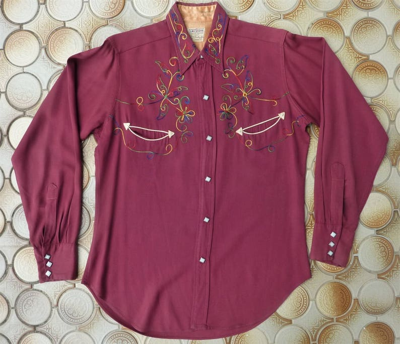 6ae35308 Las Vegas by Cowboy Joe Vintage Mens 40s / 50s Western Shirt | Etsy