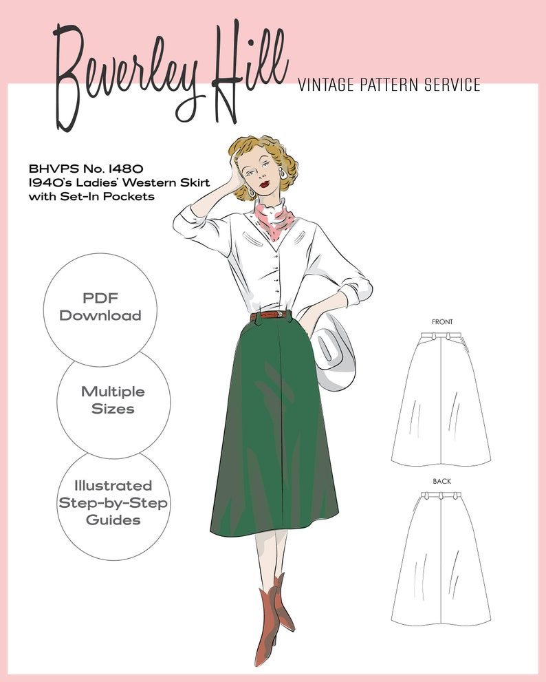 Vintage Western Wear Clothing, Outfit Ideas     Vintage Sewing Pattern Reproduction - Multiple Sizes - 1940s Ladies Western Skirt with Set-In Pockets No.1480 - INSTANT DOWNLOAD PDF $13.72 AT vintagedancer.com